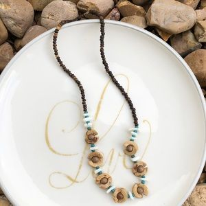 Seashell, Ceramic and Wooden Beads Necklace